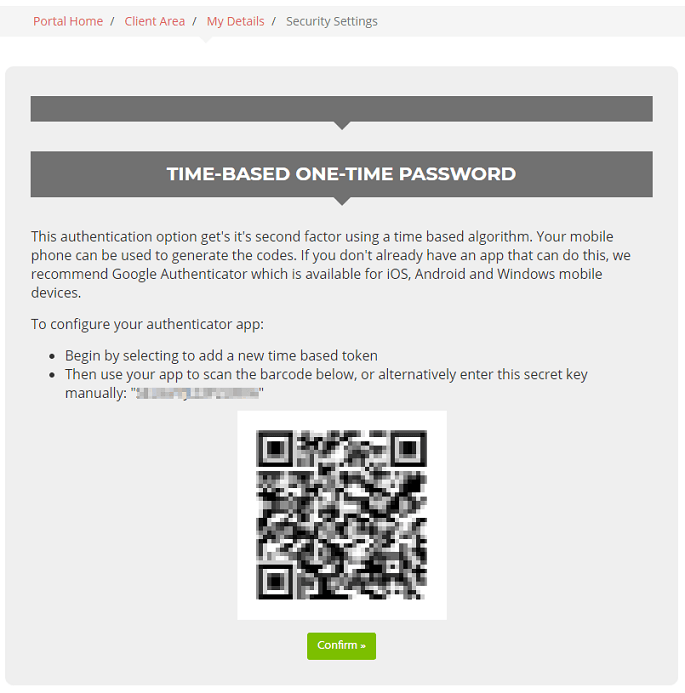 Scan your two-factor authentication code using the Authy app