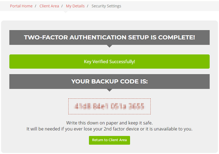 Record your two-factor authentication backup code